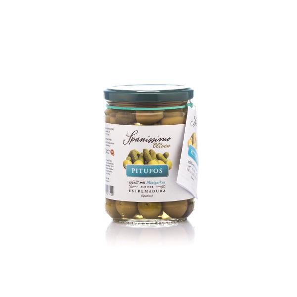 Bild zeigt las mit Pitufos, Oliven mit Minigurken von spanissimo