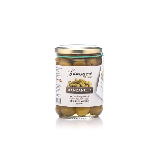 Bild zeigt Oliven von spanissimo, marinierte Oliven mit Sardellengeschmack