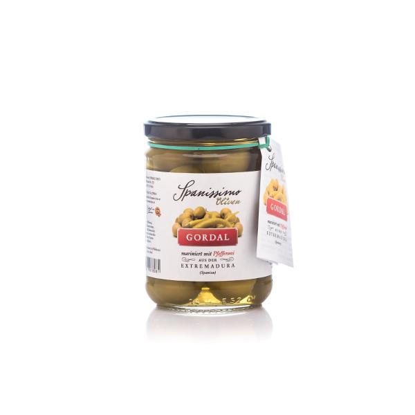 Bild zeigt Oliven mariniert mit Pfefferoni von spanissimo!